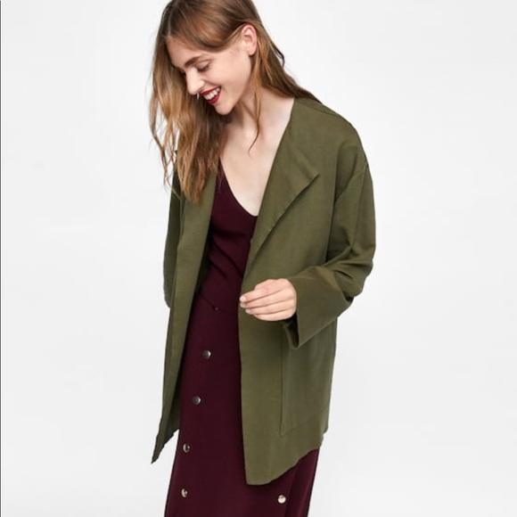 Zara Basics olive green lightweight jacket 6ce6d1c238895